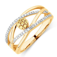 Online Exclusive - Ring with 1/4 Carat TW of Yellow & White Diamonds in 10ct YellowGold