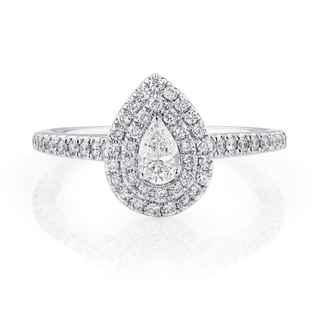 Sir Michael Hill Designer GrandArpeggio Engagement Ring with 0.87 Carat TW of Diamonds in 14ct White Gold