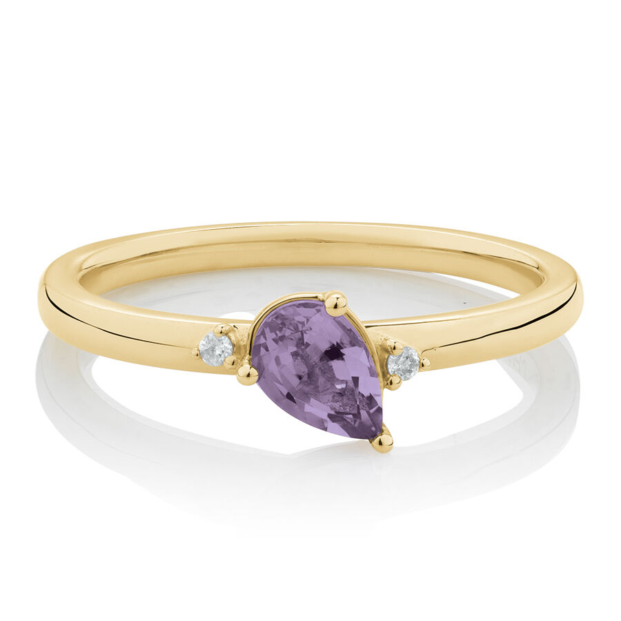 Stacker Ring with Diamonds & Amethyst in 10ct Yellow Gold