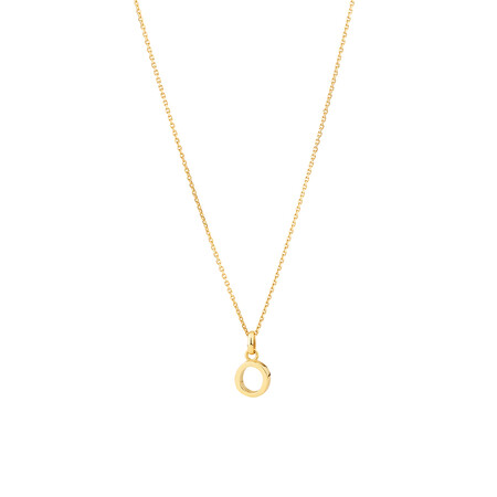 """""""O"""" Initial Pendant with Chain in 10ct Yellow Gold"""