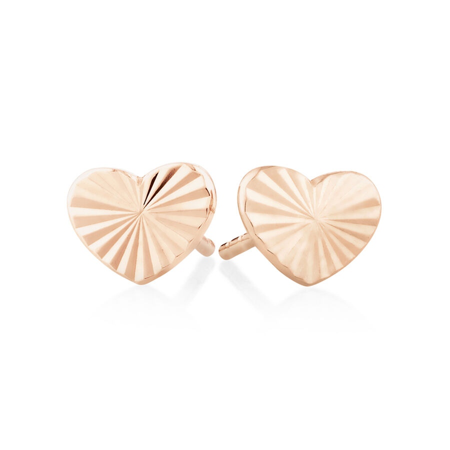 Sunray Heart Stud Earrings In 10ct Rose Gold