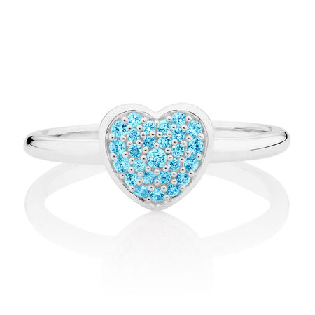 Aqua Cubic Zirconia Heart Ring