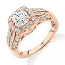 Halo Ring with Morganite & 0.75 Carat TW of Diamonds in 10ct Rose Gold