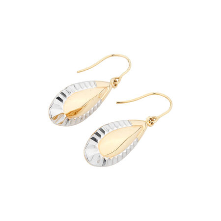 Online Exclusive - Patterned Dangle Earrings in 10ct Yellow & White Gold