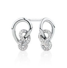 Knots Stud Earrings with 0.16 Carat TW of Diamonds in Sterling Silver