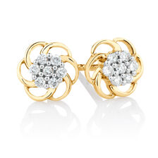 Flower Stud Earrings with 0.10 Carat TW of Diamonds in 10ct Yellow Gold