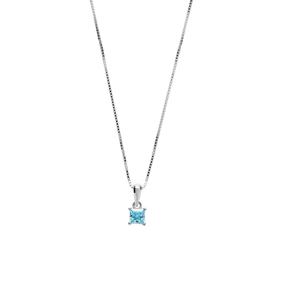 Square Pendant with Aqua Cubic Zirconia in Sterling Silver