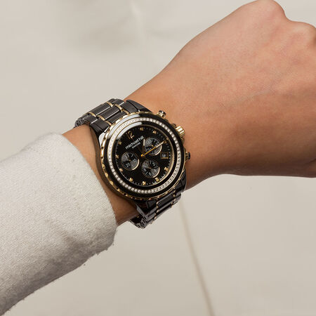 Unisex Chronograph Watch with 1/2 Carat TW of Diamonds in Black Ceramic & Gold Tone Stainless Steel