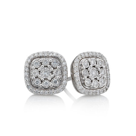 Online Exclusive - Stud Earrings with 0.31 Carat TW of Diamonds in 10ct White Gold