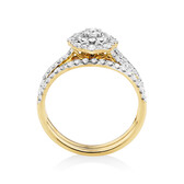 Bridal Set with 0.90 TW of Diamonds in 10ct Yellow Gold
