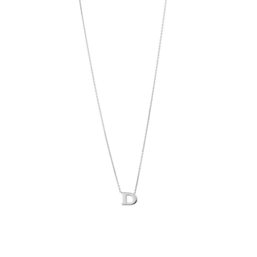 'D' Initial Necklace in Sterling Silver