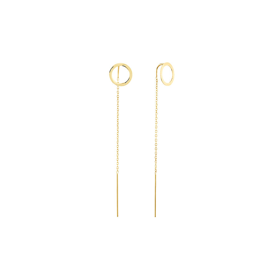 Circle Threader Earrings in 10ct Yellow Gold