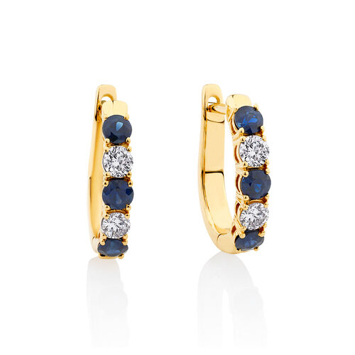 Hoop Earrings with Sapphire & 0.34 Carat TW of Diamonds in 10ct Yellow Gold