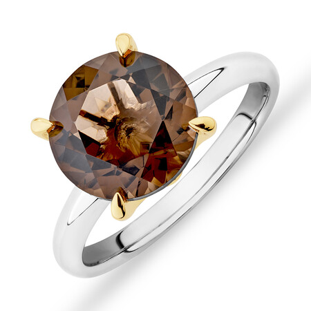 10mm Smokey Quartz Ring in Sterling Silver & 10ct Yellow Gold