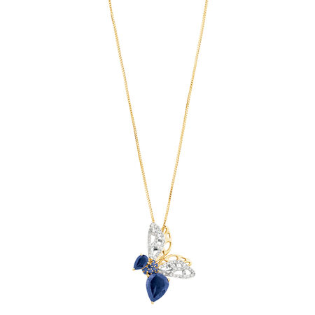 Insect Pendant with Blue Stones and 0.20 Carat TW Diamonds with Chain