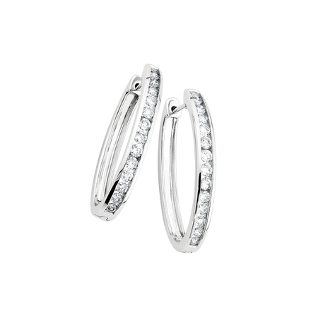 Huggie Earrings with 1 Carat TW of Diamonds in 10ct White Gold