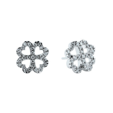 a98c716bb2ffd Four leaf Clover Stud Earrings with Diamonds in 10ct White Gold