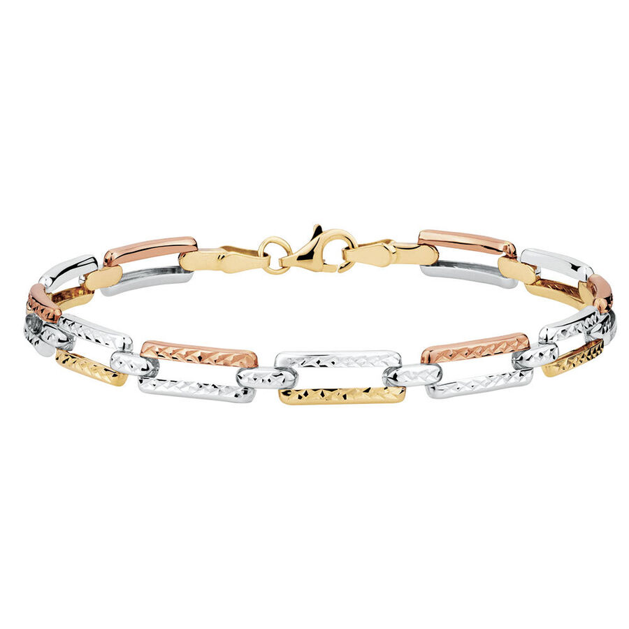 Bracelet in 10ct Yellow, White & Rose Gold