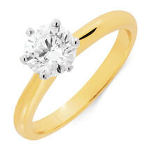 Solitaire Engagement Ring with 1 Carat TW of Diamonds in 18ct Yellow and White Gold