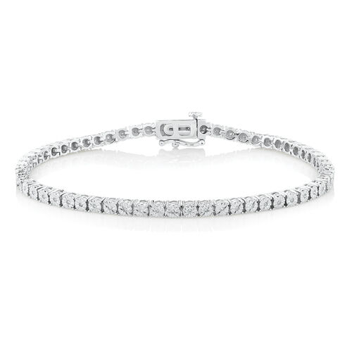 Tennis Bracelet with 1 Carat TW of Diamonds in Sterling Silver