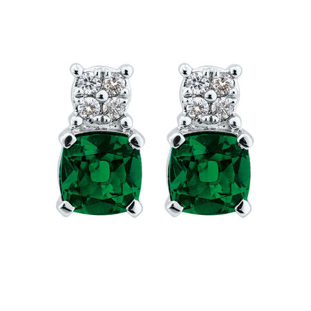 Stud Earrings with Diamonds & Created Emerald in 10ct White Gold