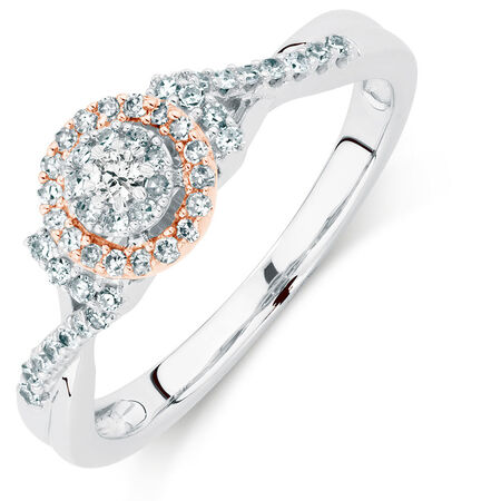 Promise Ring with 1/4 Carat TW of Diamonds in 10ct White & Rose Gold
