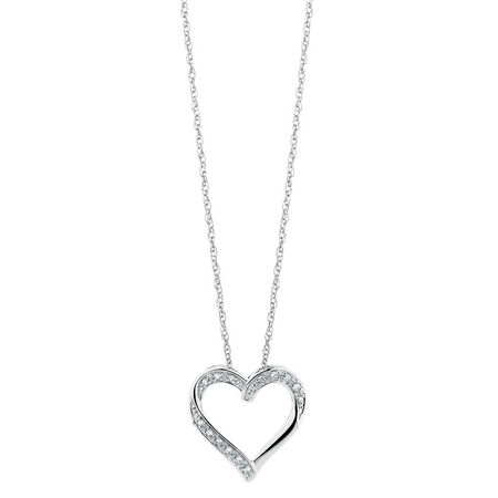 Online Exclusive - Heart Pendant with Diamonds in 10ct White Gold