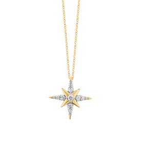 Star Pendant With 0.15 Carat TW Of Diamonds In 10ct Yellow Gold