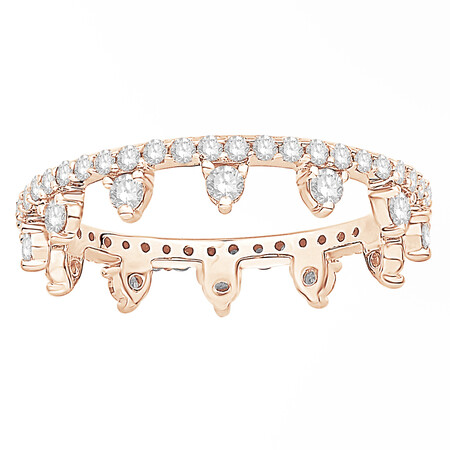 Zipper Ring with 0.75 Carat TW of Diamonds in 10ct Rose Gold