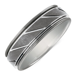 7mm Men's Patterned Ring in Grey Tungsten