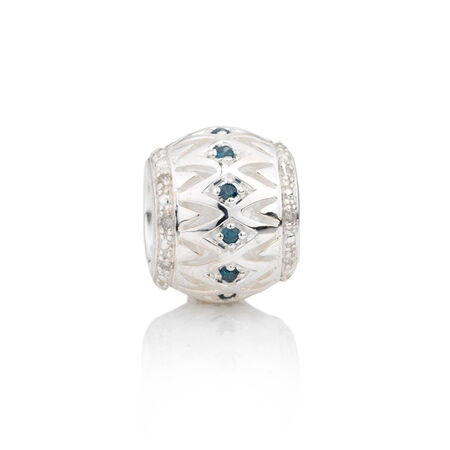 Online Exclusive - Diamond Set Charm with White & Enhanced Blue Diamonds in Sterling Silver