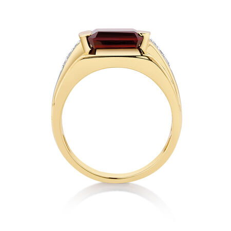 Men's Ring with Created Garnet & Diamonds in 10ct Yellow Gold