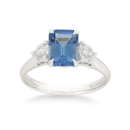 Ring with Tanzanite & 0.40 Carat TW of Diamonds in 10ct White Gold