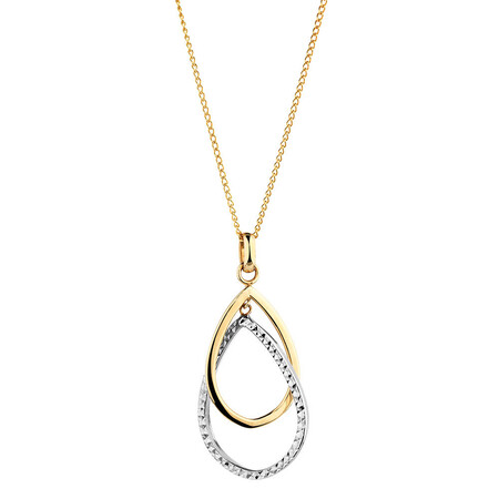 Teardrop Pendant in 10ct Yellow & White Gold