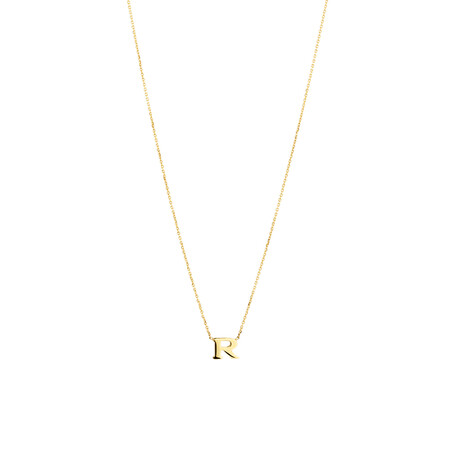 """R"" Initial Necklace in 10ct Yellow Gold"