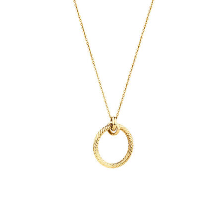 Twisted Rope Circle Necklace In 10ct Yellow Gold