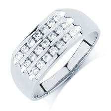 Men's Ring with 1/2 of Diamonds in 10ct White Gold