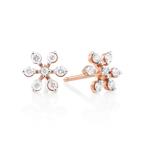 Flower Stud Earrings with 0.22 Carat TW of Diamonds in 10ct Rose Gold