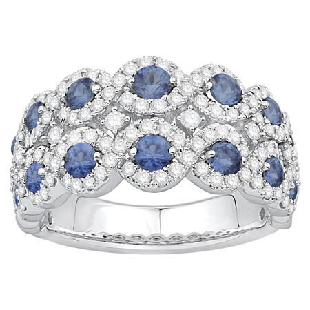 Two Row Ring with Sapphire & 0.80 Carat TW of Diamonds in 10ct White Gold