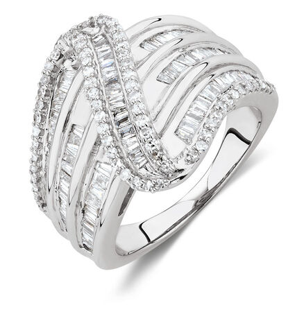 Swirl Ring with 1 Carat TW of Diamonds in 10ct White Gold