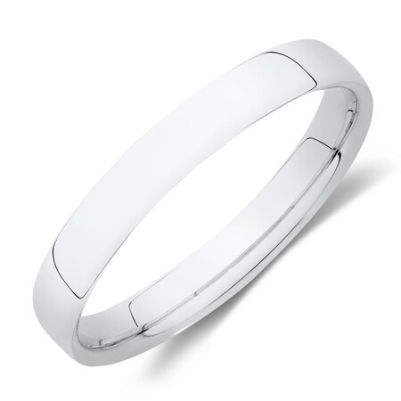 Reverse Bevelled Wedding Band in 10ct White Gold