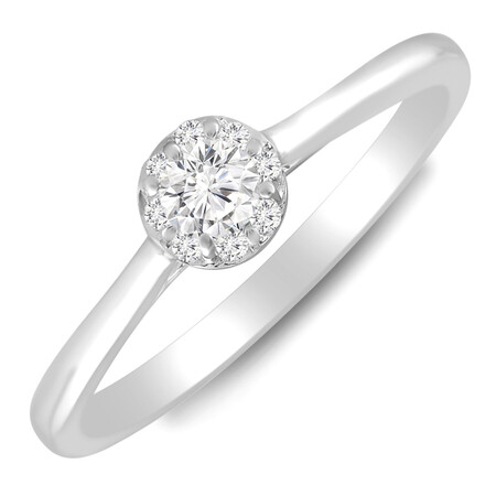 Halo Ring with 0.25 Carat TW of Diamonds in 10ct White Gold