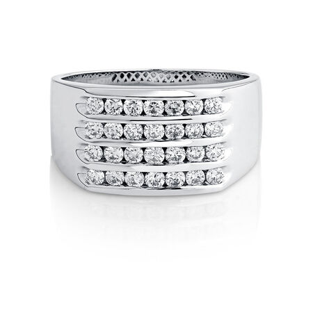 Men's Ring with 1 Carat TW of Diamonds in 10ct White Gold
