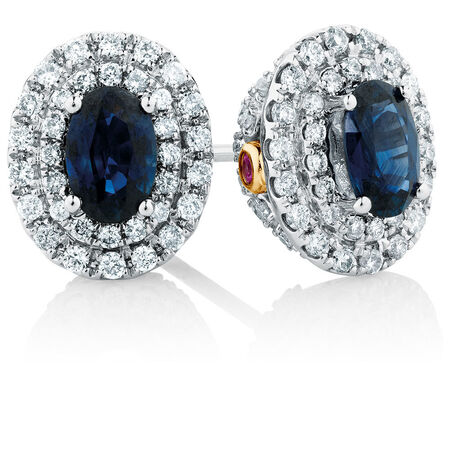 Michael Hill Designer Stud Earrings with Sapphire & 1/2 Carat TW of Diamonds in 14ct White & Rose Gold
