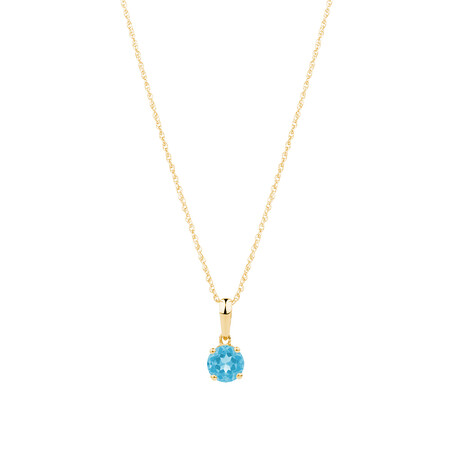 Pendant with Blue Topaz in 10ct Yellow Gold