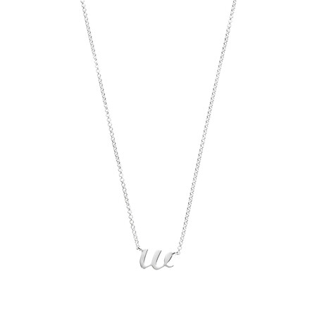 W Initial Pendant in Sterling Silver