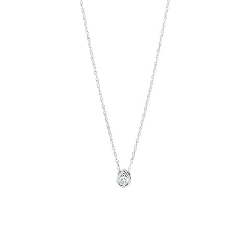 Pear Pendant Necklace with Diamonds in Sterling Silver