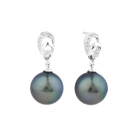 Earrings With Tahitian Pearl & Diamonds In 14ct White Gold