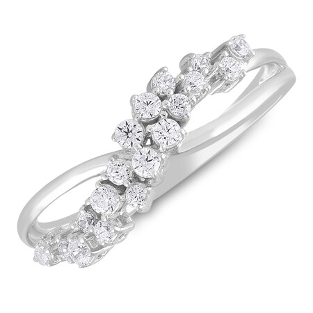 Two Row Ring with 0.25 Carat TW of Diamonds in 10ct White Gold