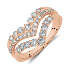 Three Row Chevron Ring with 0.75 Carat TW of Diamonds in 10ct Rose Gold